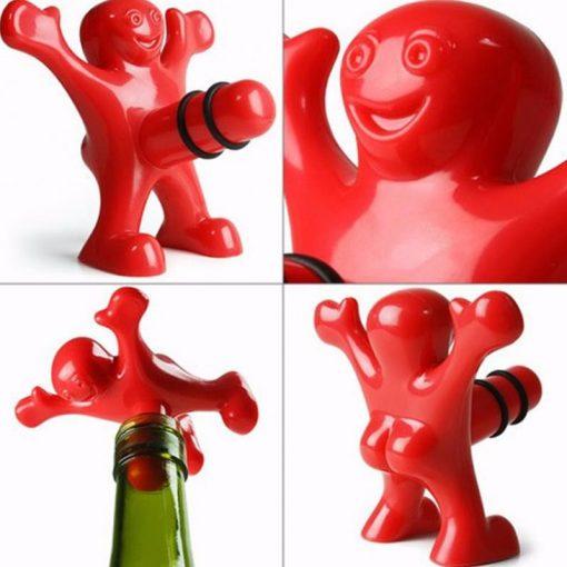 happy man wine bottle stopper